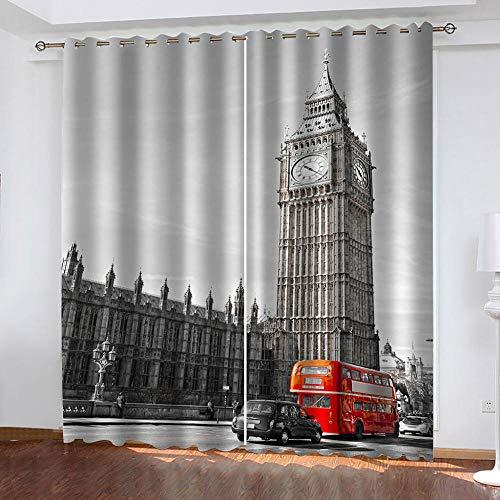 LIGAHUI 2er-Set blickdichte vorhänge Impressionen von London 2X B140x H245cm Blickdicht Vorhänge mit 3D Drucken Vorhangverdunklungs Gardinen Schlafzimmer für Kinder Kinderzimmer
