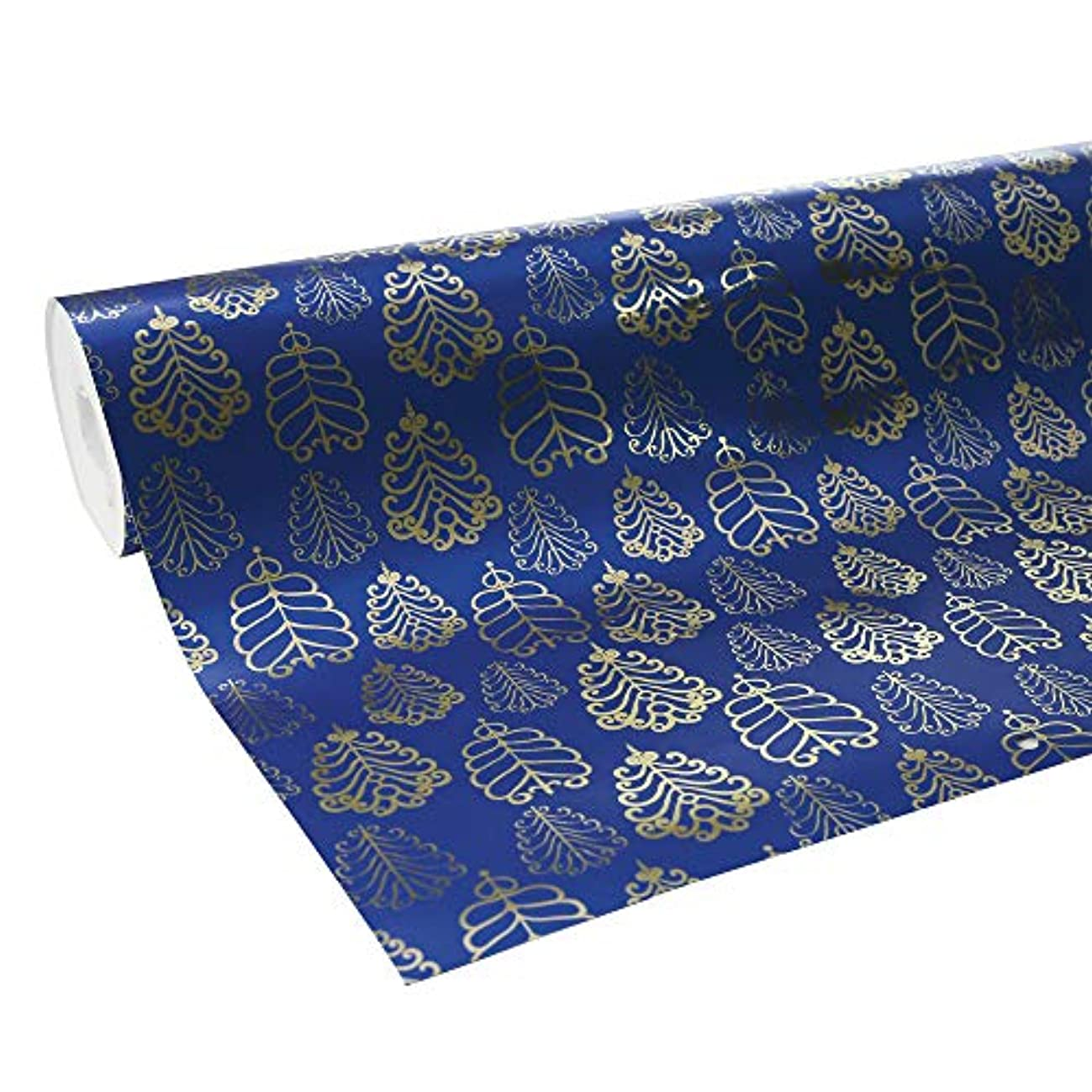 Clairefontaine 50 m x 0.70 m Premium Long Roll Wrapping Paper, Blue and Gold Flowers