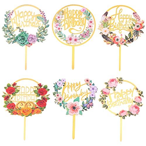Hemoton 6 Piezas de Decoración de Pasteles de Feliz Cumpleaños Decoración de Pasteles de Acrílico con Guirnalda de Flores Decoración de Pasteles para Fiestas de Cumpleaños Postres