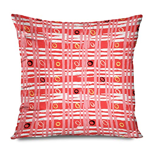 Onete Throw Pillow Cover Square 16x16 Inch White Texture Red 1960S Vintage Striped Crossing Brushstrokes Brushed Abstract 1950S 50S Fall Bold Decorative Zippered Cushion Case Home Decor Pillowcase