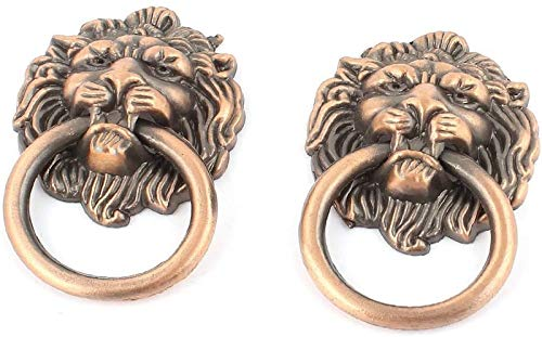Mnjin Retro European style 2pcs Lion Featured Head Shape Dresser Reliable Efficacy Cupboard Door Pull Ring Handle Knob Copper Tone