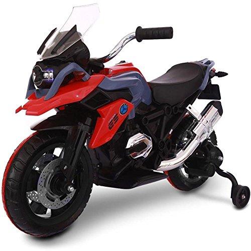 BAKAJI Moto da Corsa Elettrica Red per Bambini 12V Ricaricabile con rotelle luci Suoni