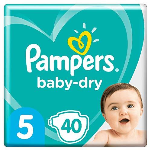 Pampers BabyDry Windeln, 40 bis 12 Stunden Schutz, Größe- 5, 40 Stück (2er Pack)