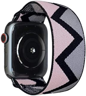 Tefeca Grey Triangle Pattern Elastic Compatible/Replacement Band for Apple Watch 38mm 40mm 42mm 44mm (Black Adapter for 38mm/40mm Apple Watch, Wrist Size : 5.5-5.9 inch (L1))