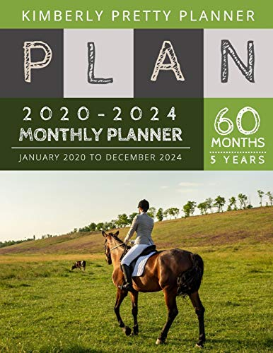 5 year monthly planner 2020-2024: Monthly Schedule Organizer - Agenda Planner For The Next Five Years, 60 Months Calendar, Appointment Notebook Large Size | horse riding design