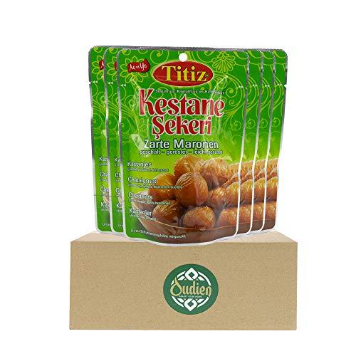 OUDIEN Set 6x125g Titiz Maronen, geschälte, geröstete und leicht gesüßte Esskastanien, essfertig und vorgekocht