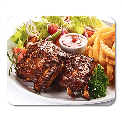 Mouse Pad Barbecue Grilled Ribs French Fries and Vegetables on Barbecued Mousepad for Notebooks,Desktop Computers Mouse Mats, Office Supplies 10x12 Inch