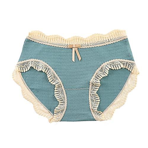 URIBAKY - Braguitas de encaje para mujer con cintura media, transpirables, talla grande azul XL