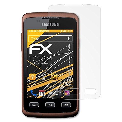 atFolix Panzerfolie kompatibel mit Samsung Galaxy Xcover GT-S5690 Schutzfolie, entspiegelnde und stoßdämpfende FX Folie (3X)