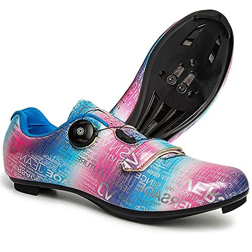 DSMGLRBGZ Zapatillas MTB, 37-46 Transpirables Amortiguadoras Antideslizante, para Carretera Hombre Mujer Zapatillas Niño Niña,Rosado,38