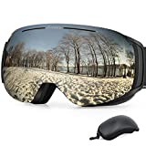 Gonex Magnetic Ski Goggles, Rimless Snowboard Goggles with Interchangeable Lens, Anti-Fog 100% UV 400 Protection Snow Goggles for Men& Women, Large Size Black Frame Silver Lens