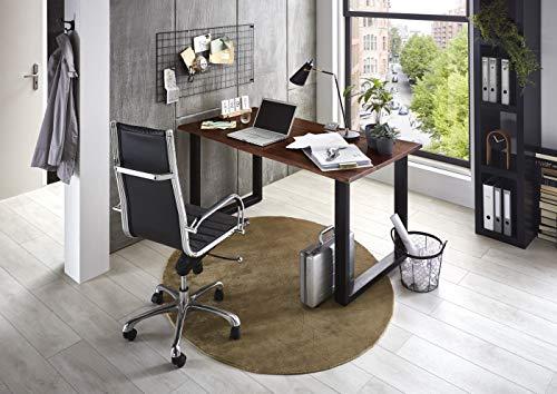 SAM Schreibtisch Palma 160x85 cm, Akazienholz nussbaumfarben & massiv, Bürotisch mit echter Baumkante, Computertisch mit U-Gestell aus Metall Mattschwarz