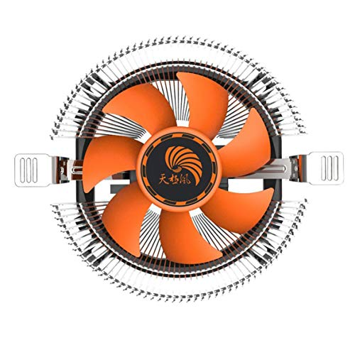 nbvmngjhjlkjlUK PC de computadora súper silenciosa de Larga Vida útil Disipador de Calor del Ventilador de enfriamiento del refrigerador de la CPU para Intel Lga775 AMD Am2 Am3 754 (Plata y Naranja)
