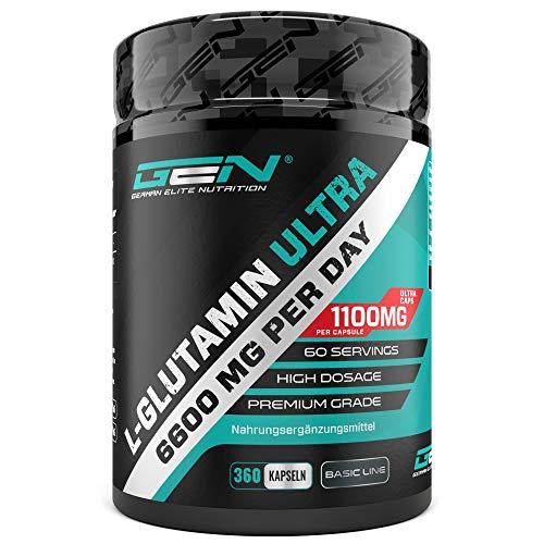 L-Glutamin - 360 Kapseln - Extra hochdosiert mit 1100 mg je Kapsel - 60 Portionen - Reines & ultrafeines L-Glutamine - Ohne unerwünschte Zusätze - Laborgeprüft - Premium Qualität