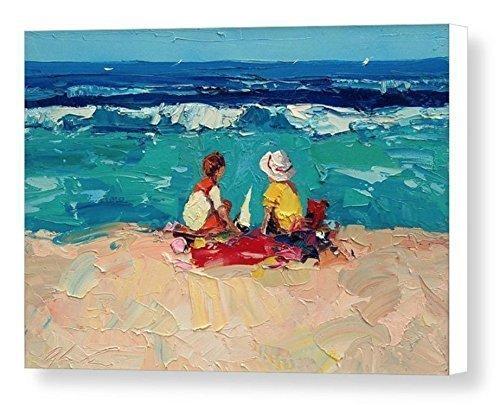 Children Scene Beach Art Prints Impressionist Modern Canvas Artwork Seascape Wall Art Sea Ocean Sand Home Decor Living Room Bedroom Gift Ideas Her Women Christmas Gifts from Painting Agostino Veroni