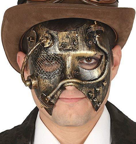 Fancy Me Damen Herren Steampunk Gelbgolden Wilder Westen Viktorianisch Erfinder Maskerade Karneval Halloween Kostüm Kleid Outfit Augen Maske