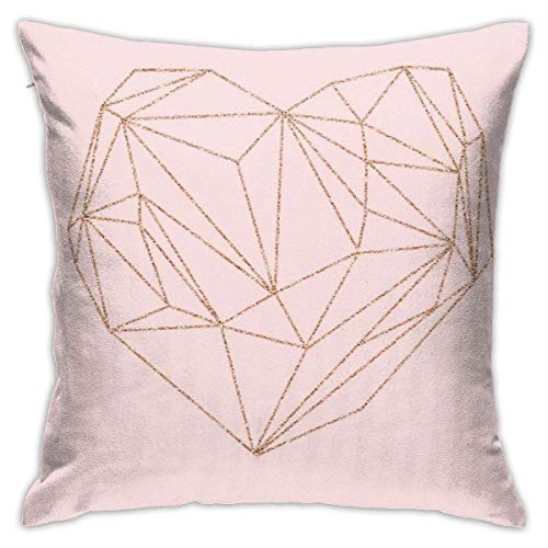 Ahdyr Rose Gold Geometric Heart Cushion Throw Pillow Cover Decorative Pillow Case For Sofa Bedroom 18 X 18 Inch