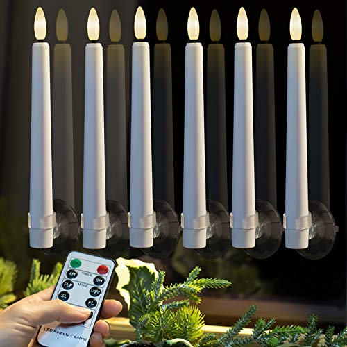 9PCS Flameless Taper Candles Battery Operated, Realistic Flickering Window Candles with Daily Timer, Remote & Suction Cups Included,for Christmas Home Wedding Decor (White)