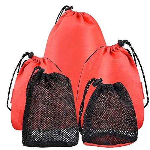 Wilxaw Mesh Drawstring Bags, 5pcs Small Stuff Sack, Mesh Pouch for Travel Camping Hiking