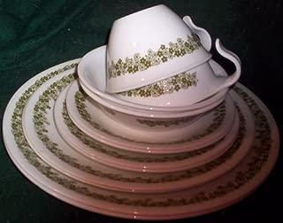 Spring Blossom Green (Crazy Daisy) 12 Piece Set; 2 Each - Dinner, Lunch, Bread Plates, Cups, Saucers, Dessert Bowls
