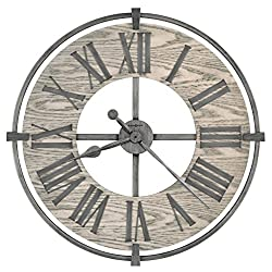"Howard Miller Eli Wall Clock 625-646 – 32"" Oversized Wrought Iron and Wood with Quartz Movement"