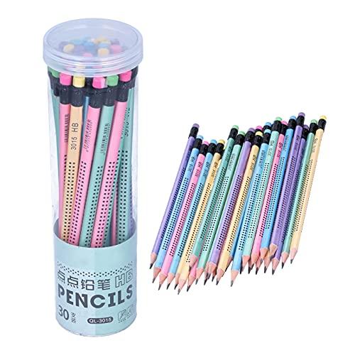 Jenngaoo 30 Stück HB Bleistifte, rutschfest Mehrfarbig mit Radiergummi Kinder Schüler Schreiben Zeichenwerkzeuge für Prüfungen, Schule, Büro, Zeichnen und Skizzieren
