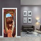 Murales Para Puertas 3D Para Puertas Papel Pintado Puerta Autoadhesiva Extraíble Impermeable Sala De Estar Cartel De La Pared Mural Puerta Fondo Pantalla Edificios Famosos 88X200Cm