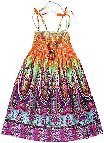 SANGTREE Children Girls Floral Print Spaghetti Strap Beach Sundress Hawaiian Sun Dress, Orange, 8-9 Years = Tag 150
