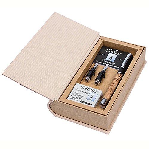 ONLINE Kalligrafie-Set Vision Nature Cork, Füller mit 3 Kalligraphie-Federn Breite 0.8, 1.4, 1.8 mm, inklusive Calligraphy-Tintenpatronen, in edler Geschenk-Box, Schönschreib-Füller Holz