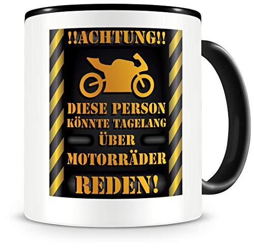 Samunshi® Motorrad Tasse mit Spruch Geschenk für Mann Frau Oma oder Opa Kaffeetasse groß Lustige Tassen zum Geburtstag schwarz 300ml