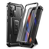 Dexnor Custodia per Samsung Galaxy S21 5G 6,2' con protezione per lo schermo integrata Armatura di Copertura protettiva antiurto resistente agli urti e posteriore con supporto - Nero