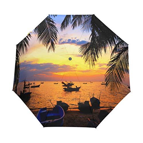 DUILLY Automatischer Regenschirm zum Öffnen/Schließen,Dunkle Schattenbilder von Palmen und von erstaunlichem bewölktem Himmel auf Sonnenuntergang in tropischer Insel,Winddichter Taschenschirm
