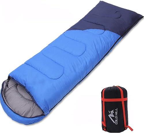 GOFEI Camping Sac de Couchage - Sac de Couchage de randonnée Bleu imperméable portatif pour Sacs de Couchage 4 Saisons (Adultes et Enfants)