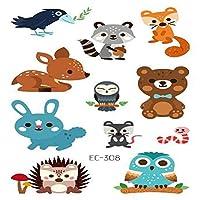 キッズガールズボーイズ誕生日パーティー用品のための10枚一時的な入れ墨ステッカーの動物柄,Ec308