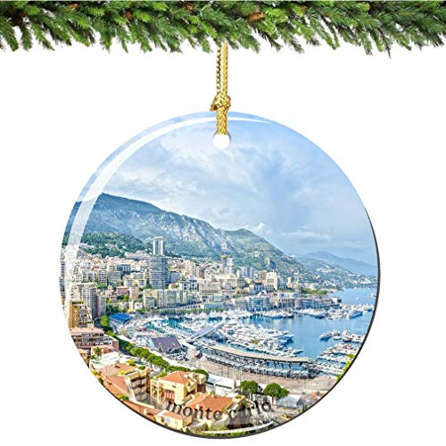 Tiukiu Monte Carlo Christmas Ornament In Porcelain Featuring Monaco's Famous Bay
