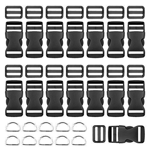 BTNOW 15 Pieces 1 Inch Plastic Side Release Buckles Flat Shape and 15 Pieces Tri-Glide Slides for 1 Inch Webbing Strap