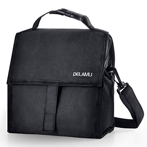 Freezable Lunch Bag, Delamu Insulated Lunch Bag with Shoulder Strap, Black Reusable Lunch Tote for Kids/Men/Women, L10.24in W5.32in H8.66in