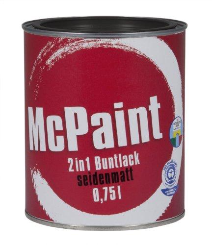 McPaint 2in1 Buntlack Grundierung und Lack in einem für Innen und Außen. PU verstärkt - speziell für Möbel und Kinderspielzeug seidenmatt Farbton: RAL 9005 Tiefschwarz 0,75 Liter - Bastellack