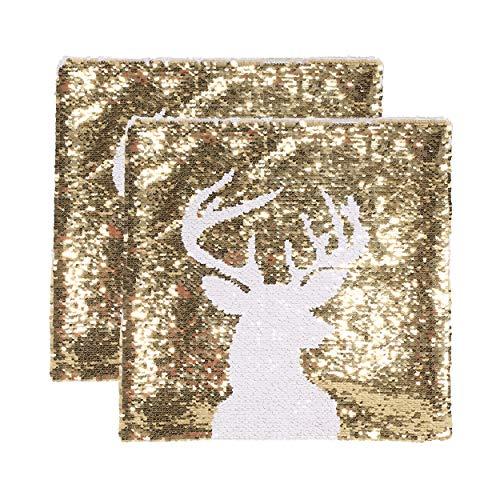 Christopher Knight Home Stephanie Glam Velvet Christmas Throw Pillow Cover (Set of 2), Gold, White -  313821