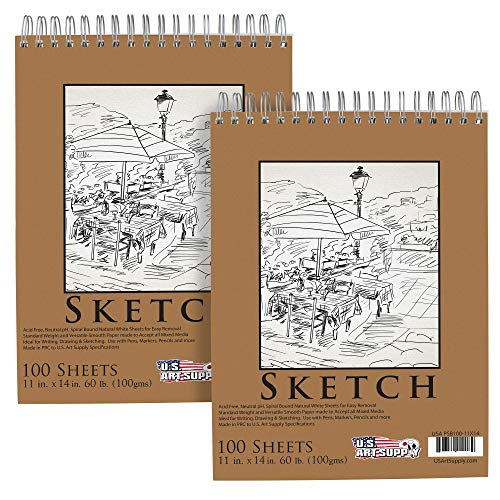 "U.S. Art Supply 11"" x 14"" Premium Spiral Bound Sketch Pad, Pad of 100-Sheets, 60 Pound (100gsm) (Pack of 2 Pads)"