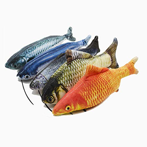 MOLLY FRASER 5 Pcs Toys Assortment with 5 Catnip Fish Cat Toys, Chew Toy Bite Resistant Catnip Toys, for Cat, Puppy, Kitty, Kitten, Ferret, Rabbit
