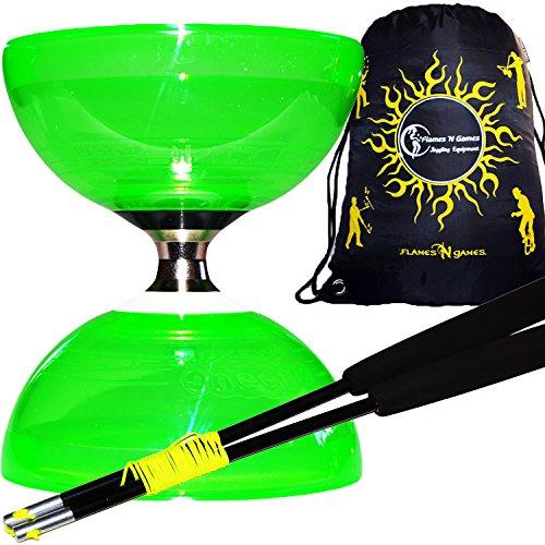 Juggle Dream Cyclone - Kit de diábolo de cuarzo con triple rodamiento + con baquetas de fibra Pro Diablo y cordón Diabolo + bolsa de transporte.