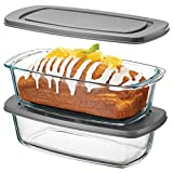 Superior Glass Loaf Pan With Cover - 2-Piece Meatloaf Pan With BPA-free Airtight Lids - Grip Handles for Easy Carry from Hot Oven To Table - Loaf Pans For Baking Bread, Cakes, Pasta.