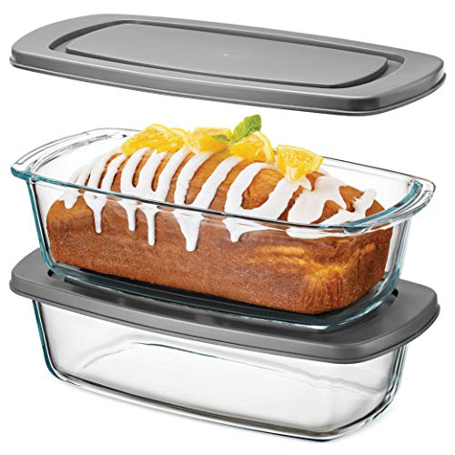 Superior Glass Loaf Pan With Cover - 2 Piece Meatloaf Pan With BPA-free Airtight Lids - Grip Handles for Easy Carry from Hot Oven To Table - Loaf Pans For Baking Bread, Cakes, Pasta.