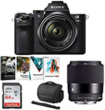 Sony Alpha a7II Mirrorless Digital Camera with 28-70mm Lens, Sigma 30mm Sigma Lens, Photo Software Kit, Sony Lightweight System Case and 64GB Memory Card Bundle (5 Items)