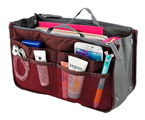 Bolsillo de almacenamiento cosmético para mujeres con múltiples bolsillos Organizador de viaje Bolsa ordenada Bolso insertado por TheBigThumb, vino rojo