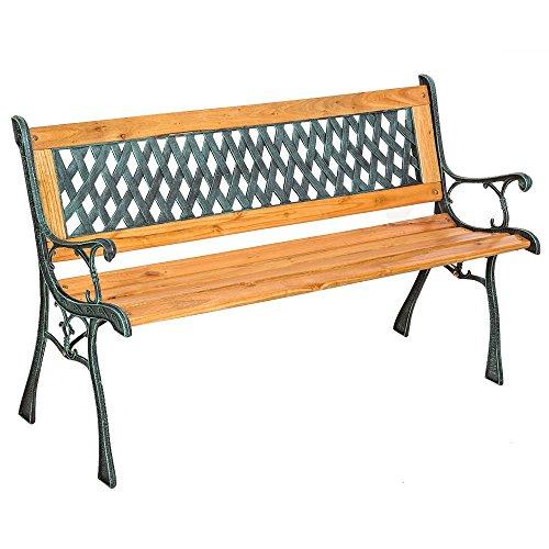 SSITG tuinbank tuinmeubelen parkeerbank zitbank eucalyptus hout bank gietijzer hardhout
