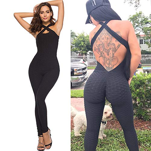 CapsA One-Piece Sport Yoga for Women Jumpsuit Running Workout Running Sports Pants Trouser Tummy Control Shapewear (Black, L)