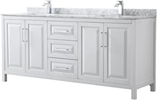 Wyndham Collection Daria 80 inch Double Bathroom Vanity in White, White Carrara Marble Countertop, Undermount Square Sinks, and No Mirror