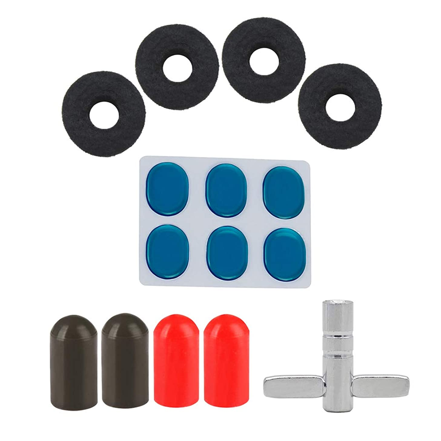 Drum Set Accessories Kit with 4pcs Cymbal Stand Felt Washeres + 4pcs Drumstick Rubber Tips + 6pcs Drum Damper Gel Pads Muffler Mute + 1pc Drum Wrench